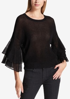 Dkny Semi-Sheer Ruffled Metallic Sweater