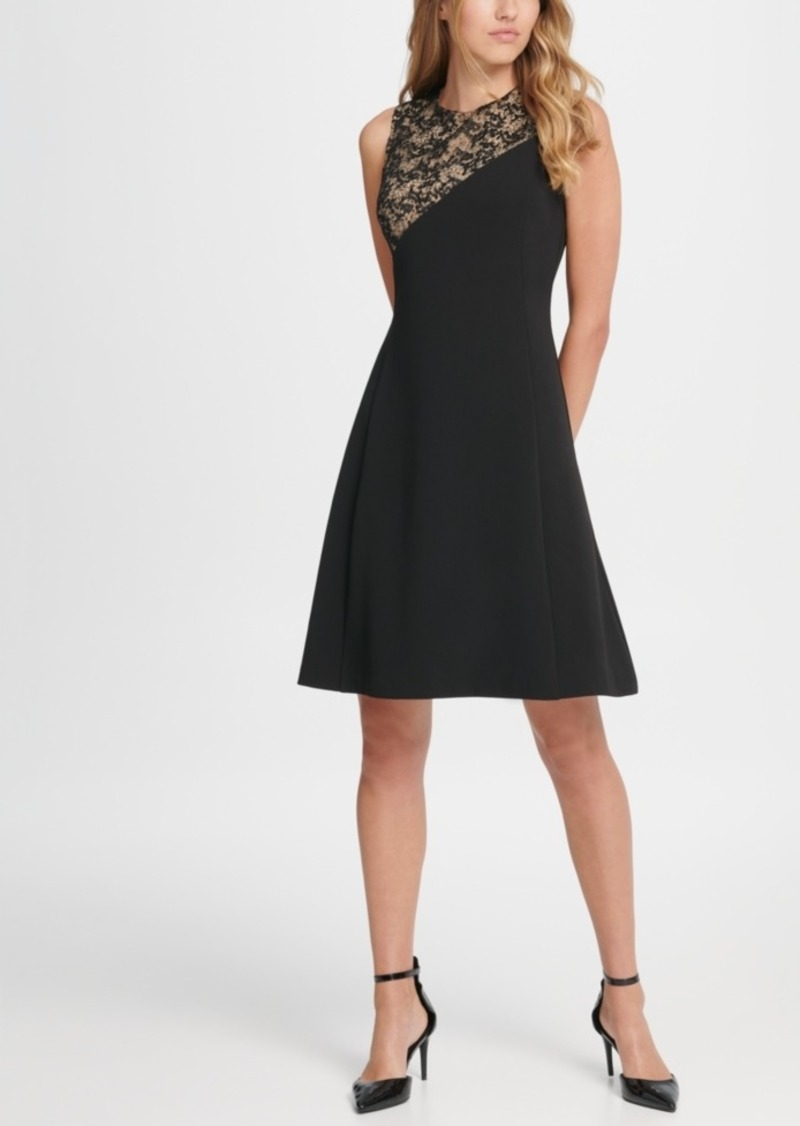 Dkny Sequin and Crepe Combo Fit & Flare Dress