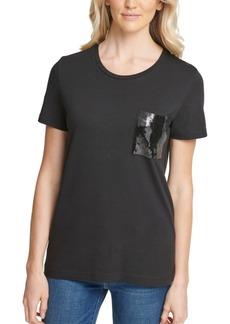 Dkny Sequin-Trim Crewneck T-Shirt