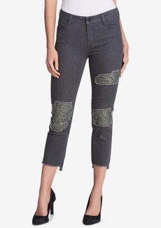 Dkny Sequined Ripped Skinny Jeans