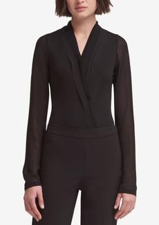 Dkny Sheer-Sleeve Wrap Bodysuit, Created for Macy's