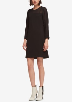 Dkny Sheer-Trim Shift Dress, Created for Macy's