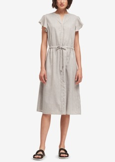 Dkny Shimmer-Stripe Flutter-Sleeve Dress, Created for Macy's