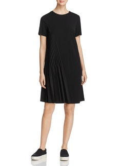 DKNY Short Sleeve Asymmetric-Pleat Dress