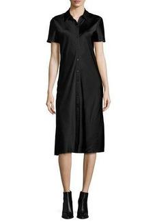 DKNY Short-Sleeve Collared Satin Shirtdress