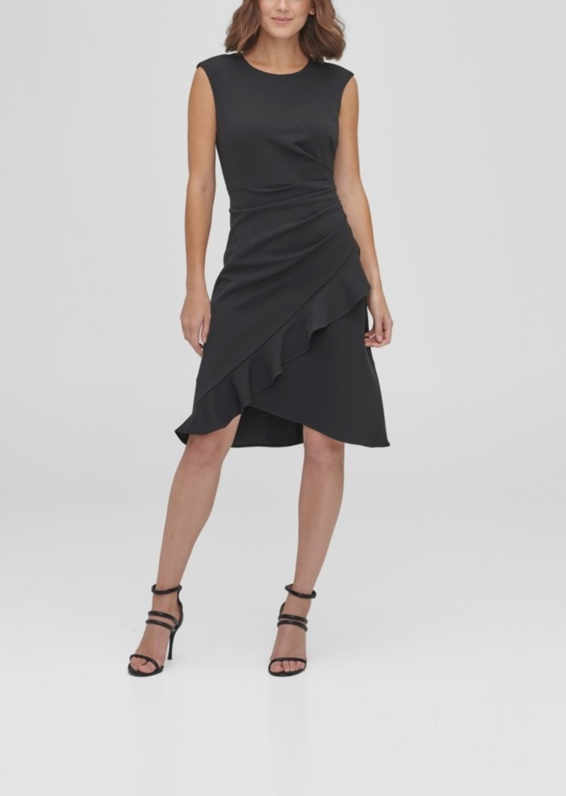 Dkny Side Ruche with Ruffle Drape Skirt A-Line Dress