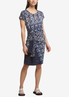 Dkny Side-Tie Printed Dress
