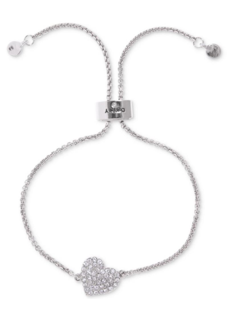 Dkny Silver-Tone Crystal Heart Slider Bracelet, Created For Macy's