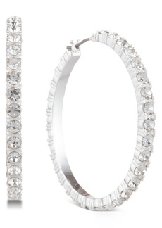 Dkny Silver-Tone Crystal Small Medium Hoop Earrings