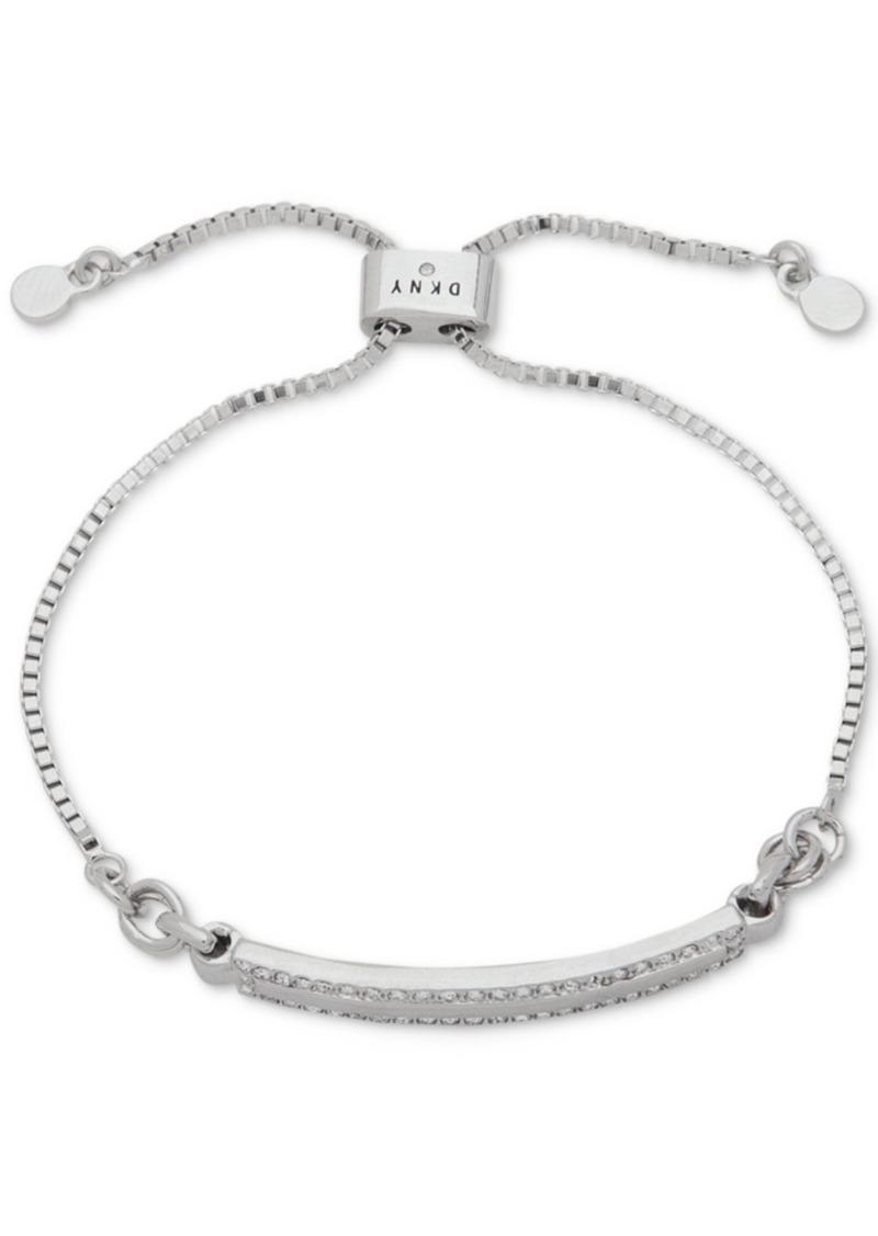 Dkny Silver-Tone Pave Bar Slider Bracelet, Created for Macy's