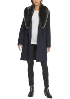 Dkny Single-Breasted Faux-Fur Shawl Collar Coat