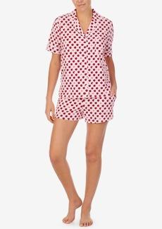 Dkny Sleepwear Printed Notched-Collar Top & Shorts Pajama Set
