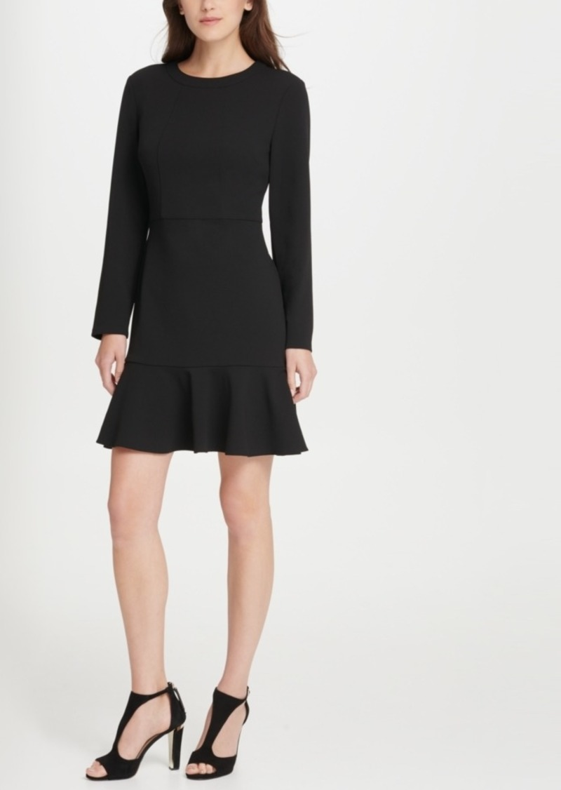 Dkny Sleeved Flounce Hem A-Line Dress