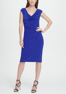 Dkny Sleeveless Cowl Neck Pleated Sheath Dress