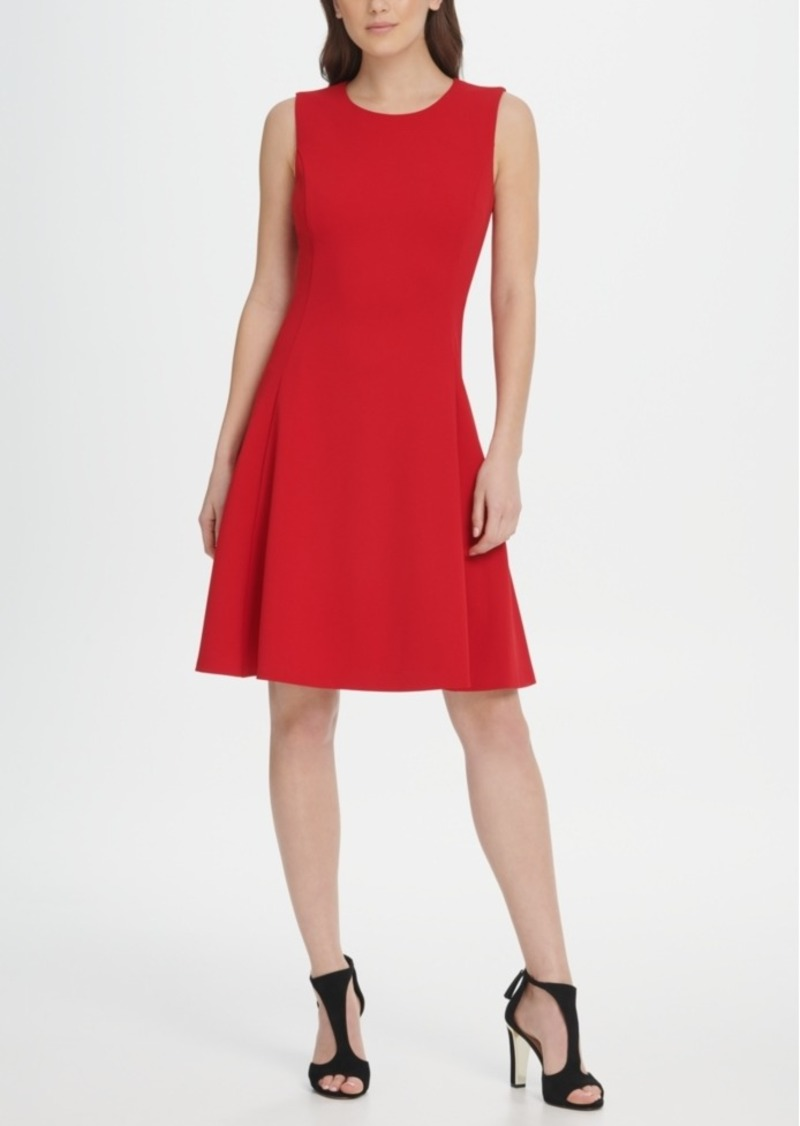 Dkny Sleeveless Crepe Fit Flare Dress