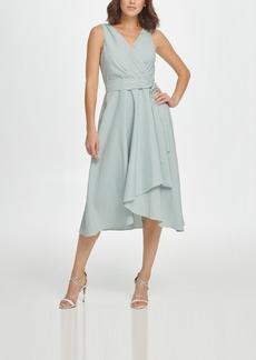 Dkny Sleeveless Double-v Faux Wrap Dress W/ Belt