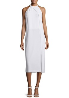 DKNY Sleeveless Draped Crepe Midi Dress