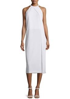 DKNY Sleeveless Draped Crepe Midi Dress