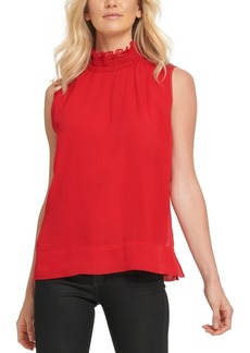 Dkny Sleeveless Faux-Leather Ruffle-Neck Top