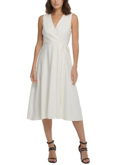 Dkny Sleeveless Faux-Wrap Midi Dress