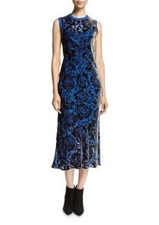 DKNY Sleeveless Floral Velvet Midi Dress