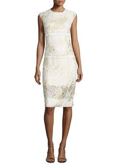 DKNY Sleeveless Mixed-Media Sheath Dress