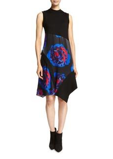 DKNY Sleeveless Mixed-Media Swing Dress