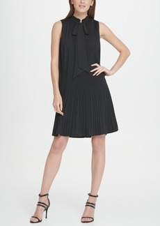 Dkny Sleeveless Pleated Tie Neck Shift Dress