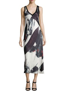 DKNY Sleeveless Printed V-Neck Midi Dress