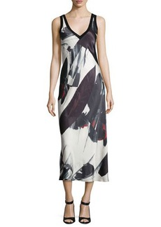 DKNY Sleeveless Printed V-Neck Midi Dress
