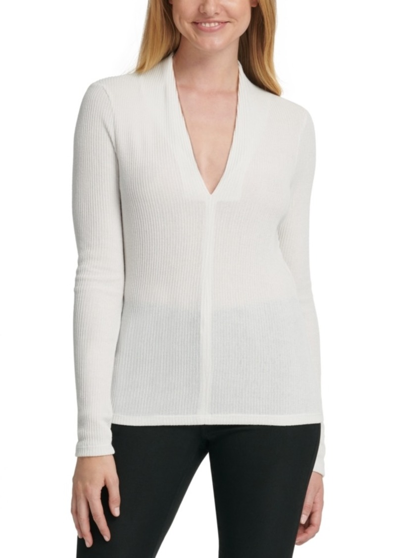 Dkny Slim V-Neck Top