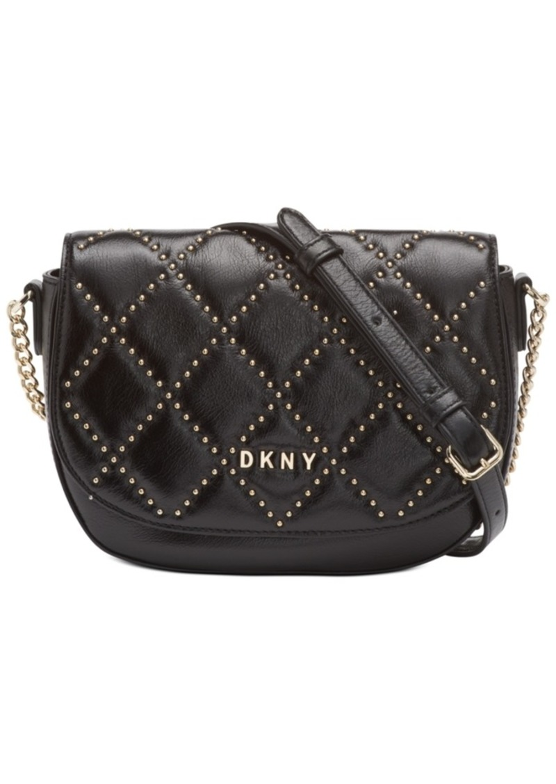 Dkny Sofia Leather Stud Saddle Bag, Created For Macy's