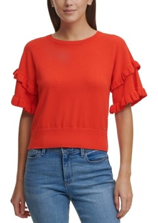 Dkny Solid Ruffled-Sleeve Cotton Sweater