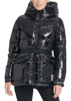 Dkny Sport Belted Hooded Puffer Jacket