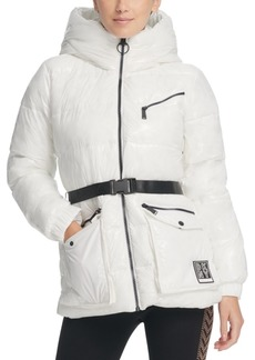 Dkny Sport Belted Hooded Puffer Jacket