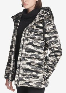 Dkny Sport Camo-Print Velvet Hooded Jacket, Created for Macy's