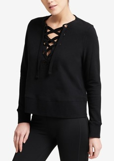 Dkny Sport Cotton Lace-Up French Terry Sweatshirt