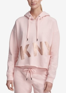 Dkny Sport Cropped Fleece Graphic Hoodie
