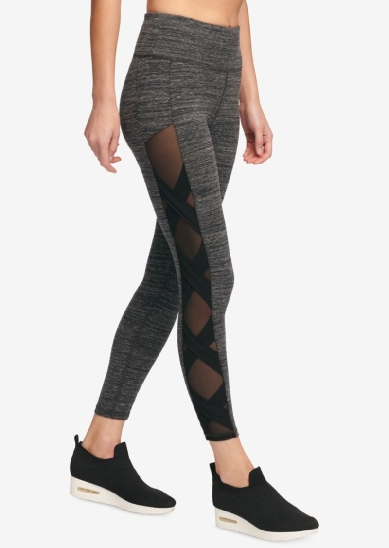 92c6022dfc3a53 Dkny Sport High-Rise Mesh-Inset Yoga Ankle Leggings, Created for Macy's