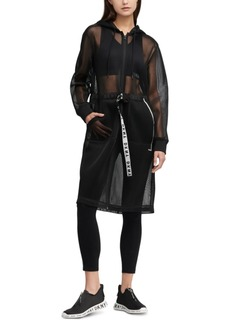 Dkny Sport Hooded Long Mesh Jacket