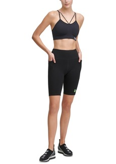Dkny Sport Logo High-Waist Bike Shorts