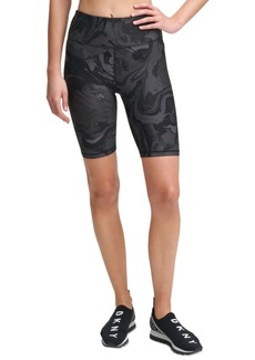 Dkny Sport Marble-Print High-Waist Bike Shorts