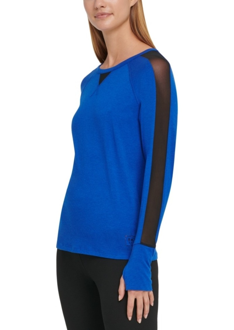 Dkny Sport Mesh-Trimmed Top