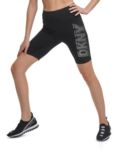 Dkny Sport Rhinestone-Logo High-Waist Bike Shorts