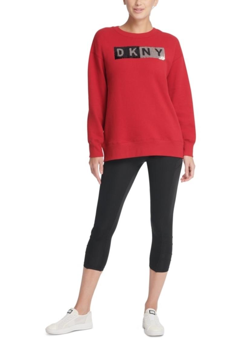 Dkny Sport Sequin-Logo Long-Line Sweatshirt