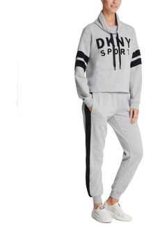 Dkny Sport Velour-Logo Funnel-Neck Sweatshirt