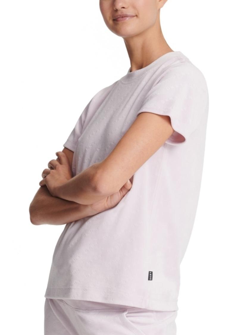 Dkny Sport Velour Logo-Print T-Shirt