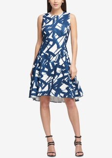 Dkny Stamped Line-Print Fit & Flare Dress, Created for Macy's