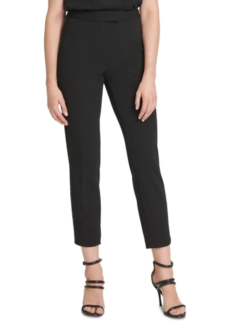 Dkny Straight-Leg Rhinestone-Trim Pants