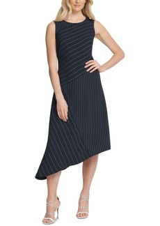 Dkny Striped Asymmetrical Dress